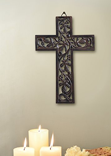 Christmas Thanksgiving Gifts Wooden Wall Cross Plaque Hanging with Hand Carved Floral Design Religious Altar Home Living Room Decor Lightweight 18inch