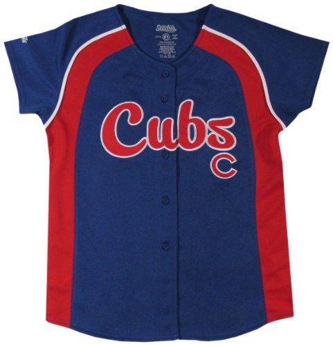 MLB Chicago Cubs Girl's Colorblocked Raglan Buttondown Jersey, Royal, Medium