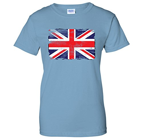 Distressed Tattered British Union Jack Flag UK Womens T-Shirt (Large LTBLUE) (British Flag Tshirts compare prices)