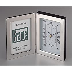 Silhouette Hinged Clock / Frame, Our Silhouette Photo Frames Are One of Our Best Sellers and This Combines a Silhouette 3 X 5 Photo Frame Plus a Beautifully Framed White Faced Clock with Black Hands and Roman Numerals