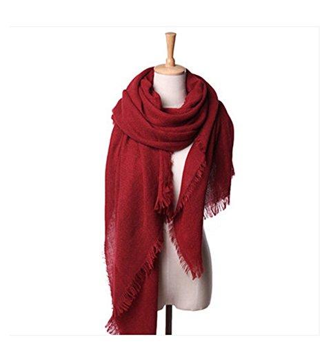 Soft Women Cashmere Scarf Fashion Woolen Yarn Pashmina/Shawl/Wrap Wine Red