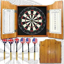New Trademark Solid Wood Dart Cabinet With Dartboard And Darts Self Healing Sisal Fiber