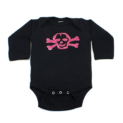 Crazy Baby Clothing Gliitter Pink Scribble Skull Long Sleeve Bodysuit in Color Black
