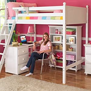 Twin over full modular stairway loft bed with desk