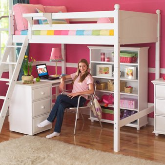 Loft Bed with Long Desk