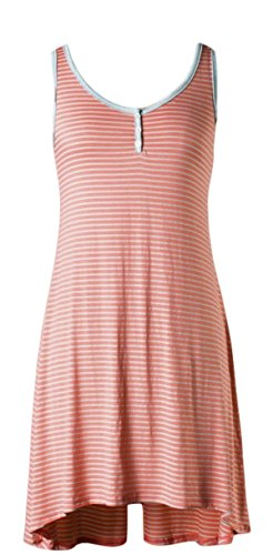 Loila Neon Peach/Baby Blue Striped Easy Breezy Tank Dress Button Accents (Medium)