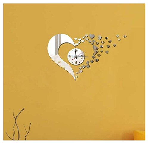 Rukiwa Wall Clock Modern Style Sweet Heart DIY Mirror Wall Clock Wall Sticker Home Decoration (Wall Decals Brown Stripes compare prices)