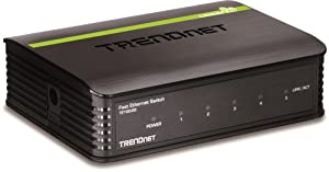 TRENDnet 5-Port Unmanaged 10/100 Mbps GREENnet Ethernet Desktop Plastic Housing Switch, TE100-S5
