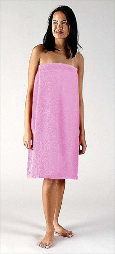 Women's 100% Terry Cotton Shower Body Wrap (S/M, Pink)