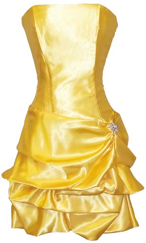 Strapless Satin Bubble Dress Prom Formal Holiday Party Cocktail Gown Bridesmaid, Large, yellow
