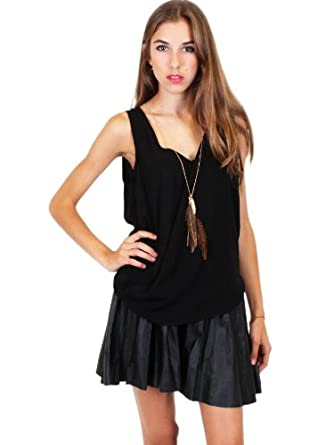 G2 Chic Women's Sleeveless V Neck Draped Chiffon Top(TOP-CAS,BLK-XS)
