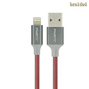 PNGXE 3ft USB Lightning Cable Nylon Braided Data Sync Charging Cord for Iphone 6s/ Iphone 6s Plus/ Iphone 6 / 6 Plus, Iphone 5 / 5s / 5c, Ipad Mini, Ipad Air, Ipod Touch 5 (1.2m red)