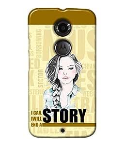 Fuson Text Girl Back Case Cover for MOTOROLA MOTO X2 - D4078