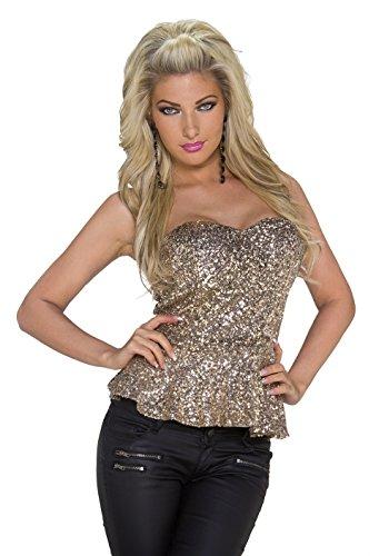 4911 Fashion4Young Damen Tailliertes Schößchen-Top mit Pailletten Party Bandeau 5 Farben Gr. 34 36