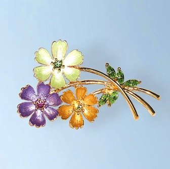 3 Flowers Bouquet Pin Brooch 24K Gold Swarovski Crystals Orange Green Purple 3 Dimensional Bouquet Jewelry FREE SHIPPING