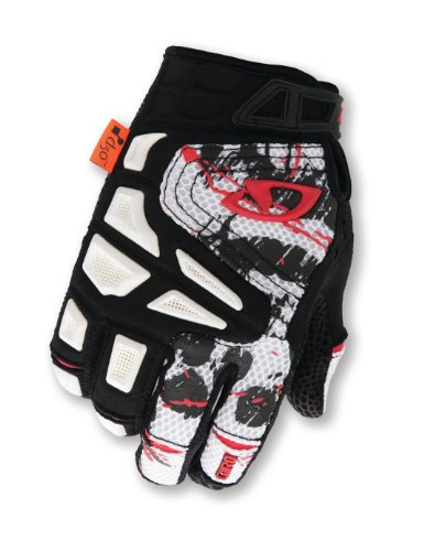 Giro Remedy Mountain Biking Gloves, White/Black/Red, Large