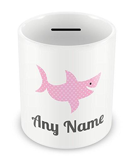 Spardose, personalisierbar, mit Namen, Hai, Pink, 2 Stück
