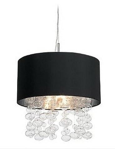 LXVW 420W Modern Pendant Light with 7 Lights and Black Fabric Drum Shade (E14/E12 Base) , 110-120v - 120v 420w Lamp