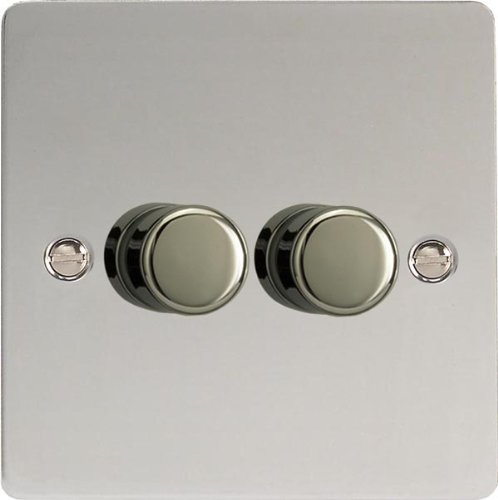 Varilight, Mirror Chrome, Ultra Flat, LED Dimmer Switch - V-Pro Series, 2 Gang (Single), 1 or 2 Way, 400 Watt (Trailing Edge)
