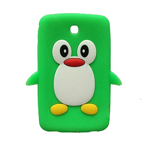 Tsmine Samsung Galaxy Tab 3 7.0-inch SM-T217 T217A T217S T217R T210R T2105 Kids Edition (2013 Model) Cartoon Case, Cute 3D Penguin Animal Soft Silicone Rubber Back Cover Case for Kids- Green
