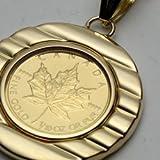 純金 メイプルリーフ コイン ペンダント 1/10 金貨 両面ガラス入 シルバー ゴールド仕上げ チェ-ン