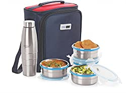Steel Lock HL- 1361 Airtight 4 pc 400 ml each & Lock Steel Lunch / Meal/Tiffin Box with 600ml Bottle & Insulated bag