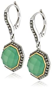 "Judith Jack ""Mini Octagons"" Sterling Silver, Chalcedony, and Marcasite Drop Earrings"