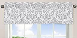 Damask Print Window Valance for Boy or Girls Blue, Gray and White Avery Teen / Childrens Bedding