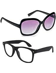 New Stylish UV Protected Combo Pack Of Sunglasses For Women / Girl ( BlackButterfly-ClearBlackWayfarer ) ( CM-SUN...