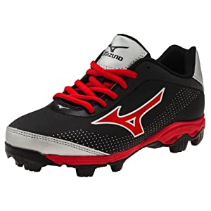 Mizuno 9-Spike Franchise 7 Low Youth Molded Baseball Cleat (Black/Red, 1)
