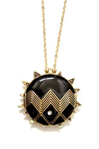 Spiked Black Geometric Locket Necklace Gold Zig Zag Crystal Modern Tribal Vintage Statement Pendant