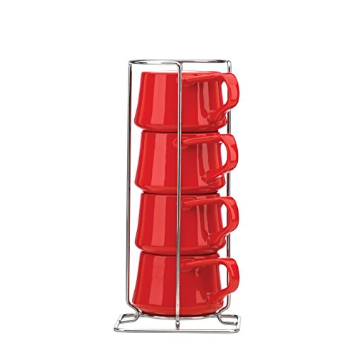 Dansk-Kobenstyle-de-4-Tasses-Caf-support-Rouge-chili