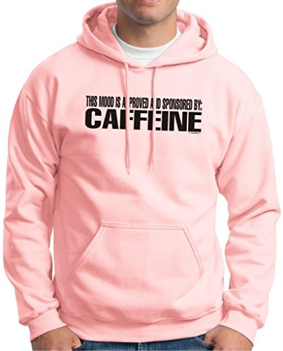 This Mood Is Approved And Sponsored By Caffeine Hoodie Sweatshirt Medium Light Pink