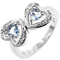 Gemstone CZ Rings - Two Heart Aquamarine CZ Ring