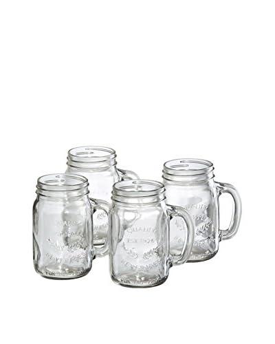 Artland Set of 4 Handled 16-Oz. Mason Jars, Clear