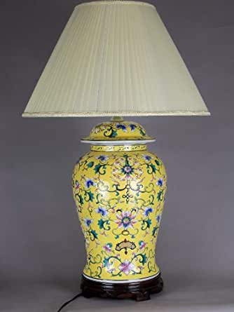 All Decor Table Lamp Porcelain Base Floral Design Yellow