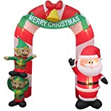CHRISTMAS DECORATION LAWN YARD INFLATABLE AIRBLOWN SANTA AND ELVES ARCHWAY 9' TALL