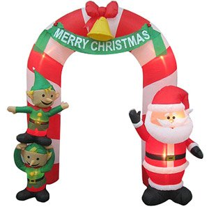 Christmas Decoration Lawn Yard Inflatable Airblown Santa And Elves Archway 9' Tall front-587057