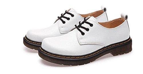 XIUSHANG Scarpe Martin per uomini e donne, coppie retrò, spazzolare colore cuoio, scarpe casual moda, cuoio , white , 44