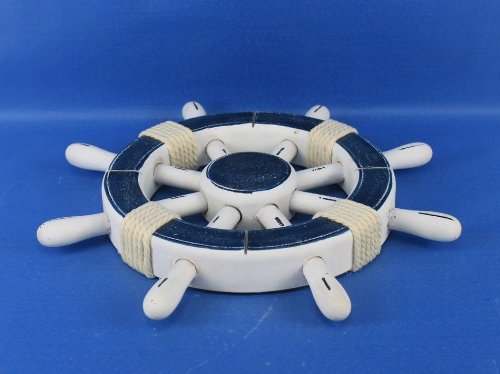 Hampton NauticalRustic Dark Blue and White Ship Wheel, 12""
