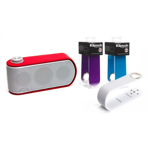 Klipsch Gig Portable Wireless Music System With Aptx Bluetooth And Two Additional Color Bands (White Speaker With White, Blue, Purple And Red Color Bands)