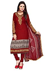 Khoobee Presents Crepe Dress Material (Red)