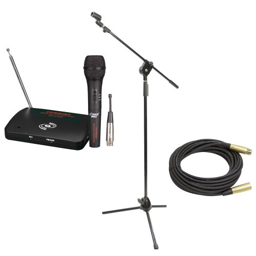 Pyle Mic And Stand Package - Pdwm100 Dual Function Wireless/Wired Microphone System - Pmks3 Tripod Microphone Stand W/ Extending Boom - Ppmcl50 50Ft. Symmetric Microphone Cable Xlr Female To Xlr Male