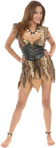 Adult Plush Fur Cave Woman Halloween Costume (Size: Large 11-13)