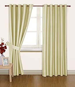 Cream Faux Silk 66x72 Thermal Lined Blackout Heavyweight Ring Top Curtains by PCJ Supplies