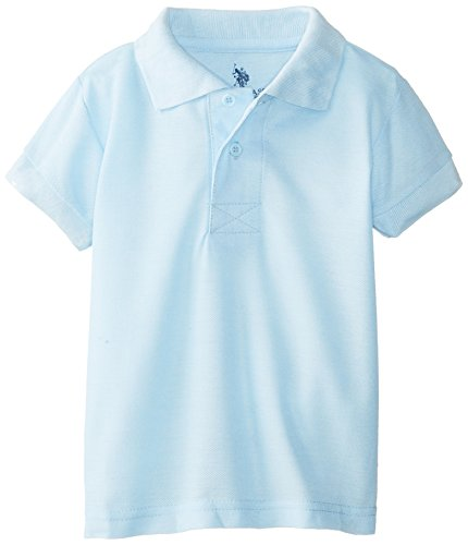 U.S. Polo Association Little Boys' Short Sleeve Cotton Pique, Light Blue, 4T