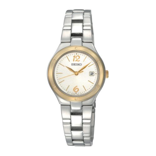 Seiko Ladies Quartz Analogue Watch SXDC48P1 with Two Tone Bracelet and Cream Dial