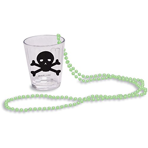 Creative Converting Glow-in-The-Dark Bead Necklace with Shot Glass, Green