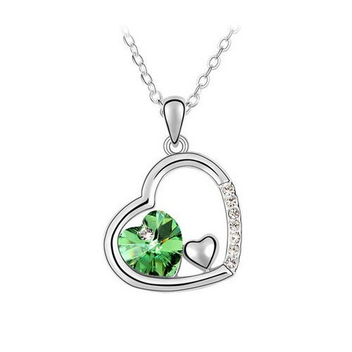Top Value Jewelry - Dazzling 18K Gold Plated Emerald Crystal Double Heart Pendant Necklace, Free 18 Inch Chain