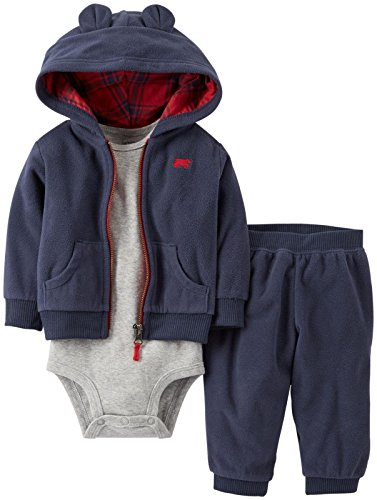 Carter'S Baby Boys' 3 Piece Eared Cardigan Set (Baby) - Navy - 3 Months front-169646